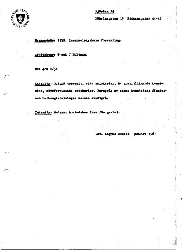 Kvarteret Sjöråen, Norrmalmsinventeringen 1964-1967